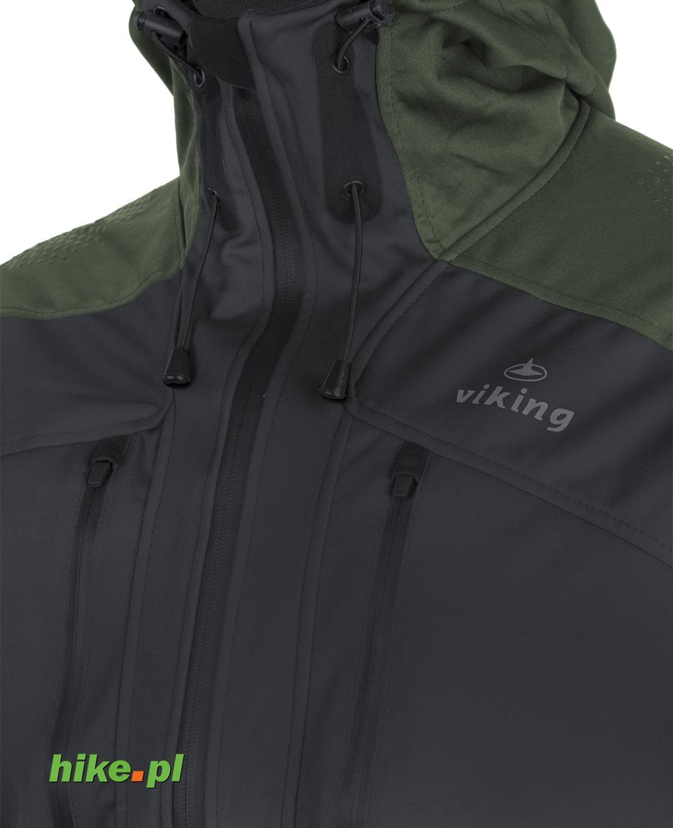 męska kurtka softshell Viking Haruto czarno zielona