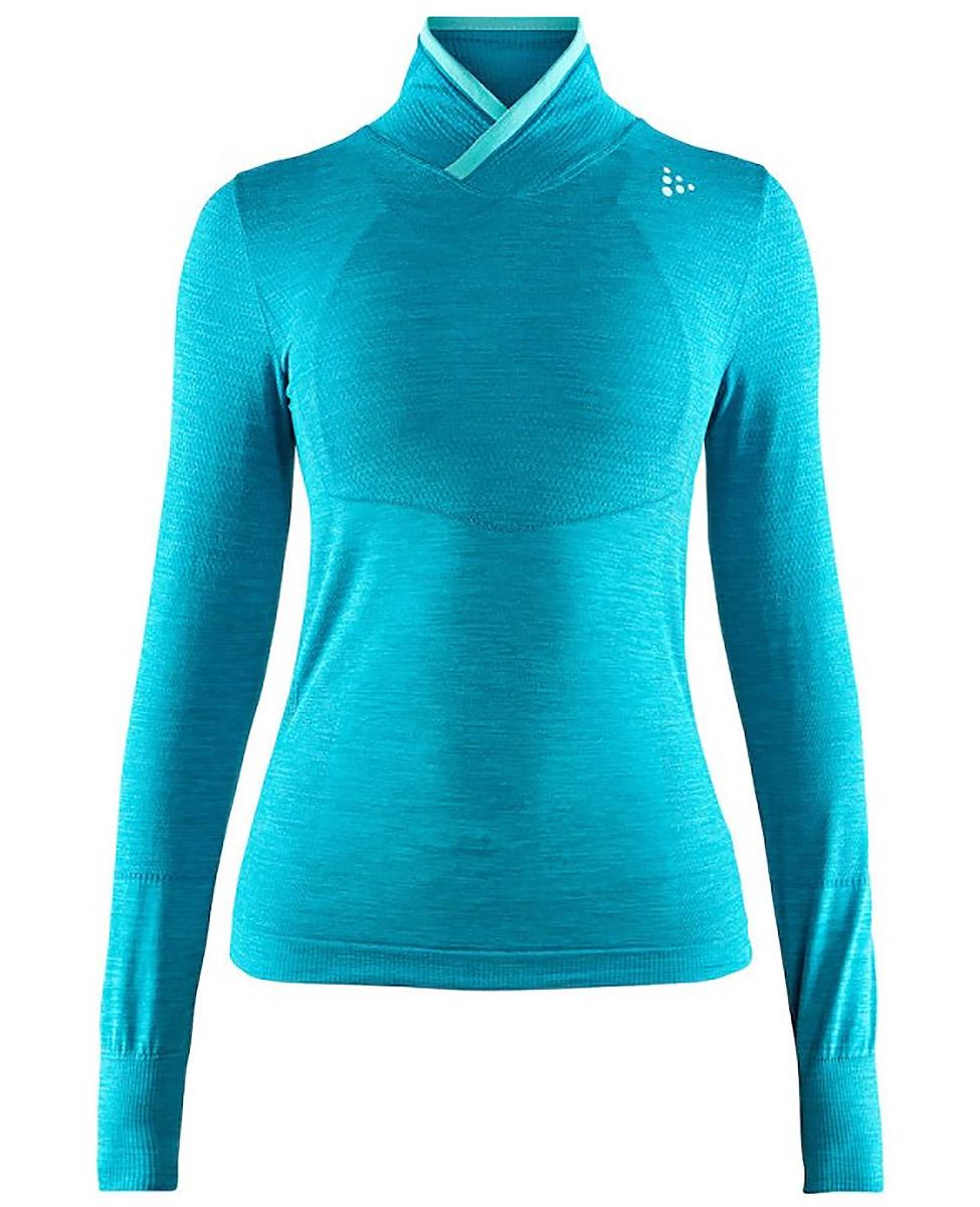 Craft Fuseknit Comfort Wrap- koszulka damska ze stójką niebieska