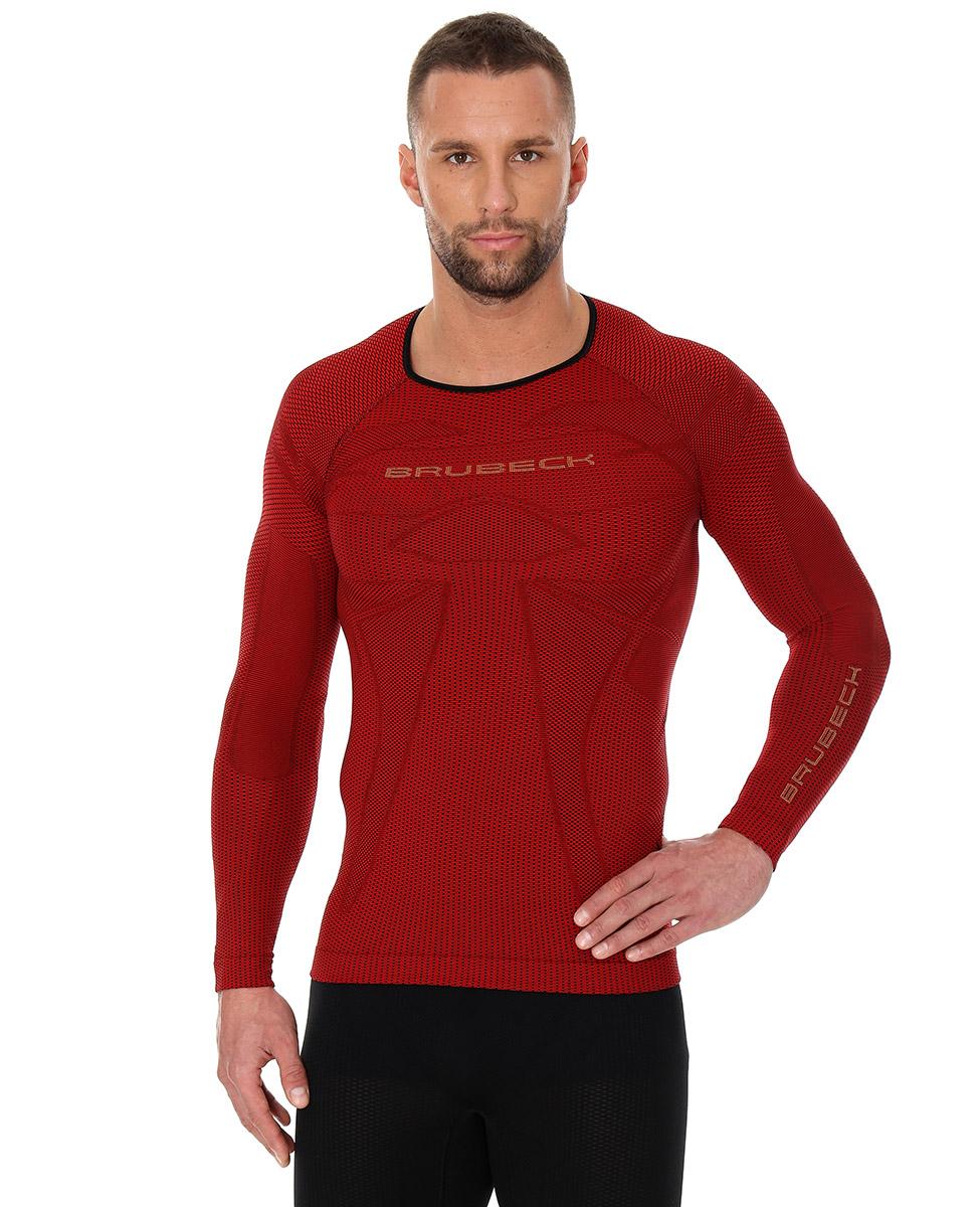 Brubeck 3D Run PRO męska koszulka do biegania długi rękaw czerwona