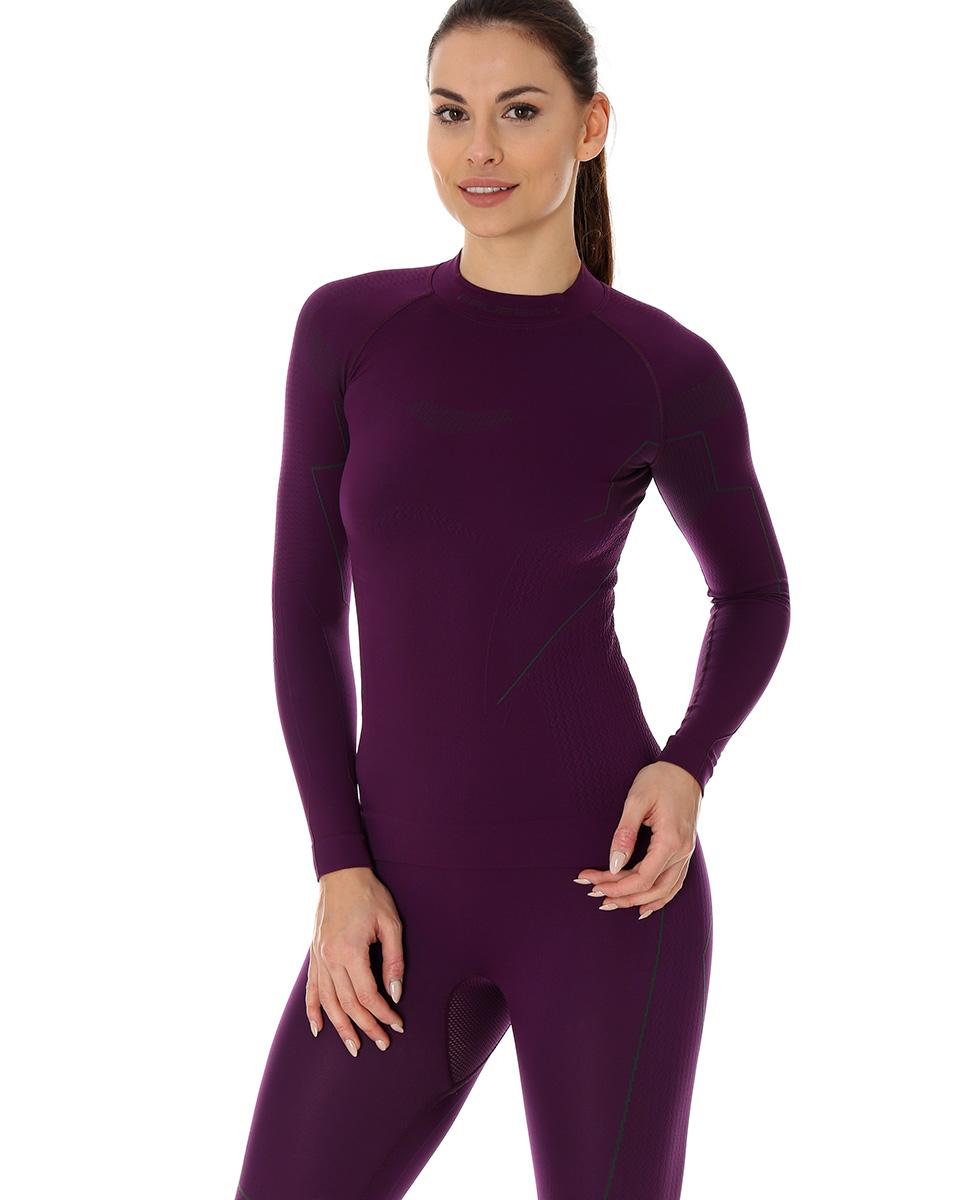 be9346933fd540 Brubeck Thermo damska koszulka termoaktywna purpurowa
