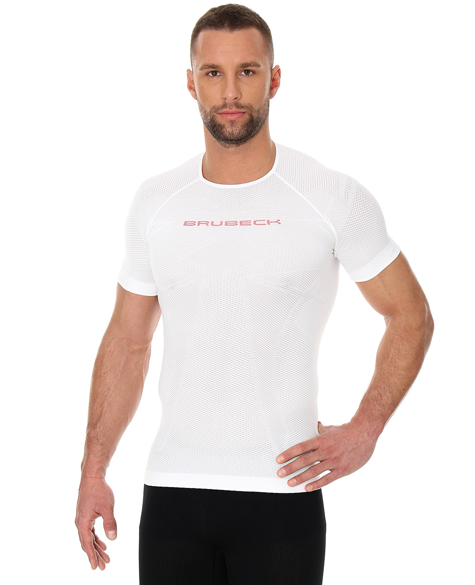 31527ce63e3750 Brubeck 3D Run PRO męska koszulka do biegania krótki rękaw biała