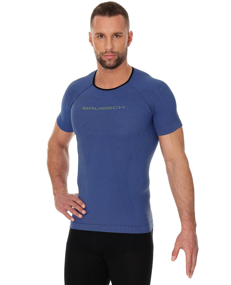 0f65620fc74d78 Brubeck 3D Run PRO męska koszulka do biegania krótki rękaw niebieska ...