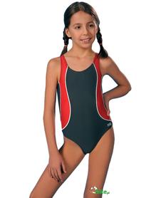 dziecięcy kostium kąpielowy gWinner Otylka I grafitowo-czerwony