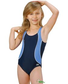 Jednoczęściowy dziewczęcy kostium kąpielowy gWinner Otylka II granatowo-błękitny