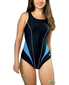 kostium kąpielowy gWinner Laila I czarny rozm. 38 (niebieskie wstawki)
