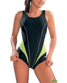 kostium kąpielowy gWinner Laila III czarny (zielone wstawki)