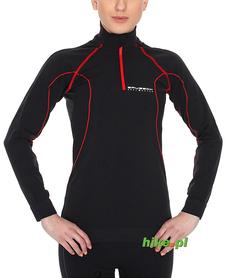 damska bluza termoaktywna Brubeck activity fit czarno-czerwona