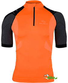 męska koszulka rowerowa Brubeck pomarańczowo-czarna