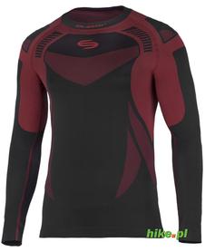 męska koszulka termoaktywna Brubeck Dry czarno-czerwona