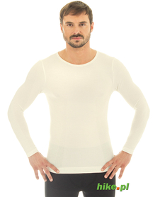 męska wełniana koszulka Brubeck Comfort Wool kremowa