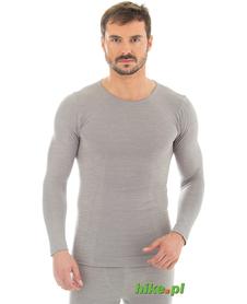 męska wełniana koszulka Brubeck Comfort Wool jasnoszara