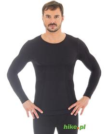 męska wełniana koszulka Brubeck Comfort Wool czarna