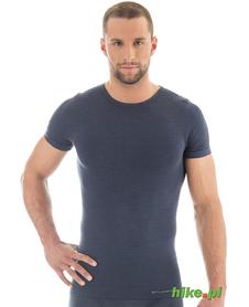 męska wełniana koszulka z krótkim rękawem Brubeck Comfort Wool granatowa