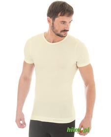 męska wełniana koszulka z krótkim rękawem Brubeck Comfort Wool kremowa