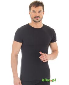 męska wełniana koszulka z krótkim rękawem Brubeck Comfort Wool czarna
