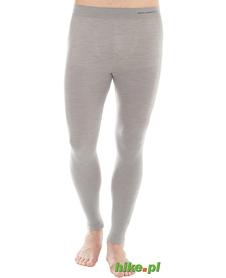 męskie wełniane kalesony termoaktywne Brubeck Comfort Wool jasnoszare