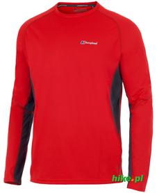 męska koszulka długi rękaw Berghaus Tech Tee Base Crew LS czerwona
