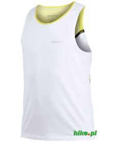 męski bezrękawnik do biegania Craft Elite Run Singlet biało-limonkowy