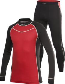 komplet męskiej bielizny termoaktywnej Craft Colorblocking czarno/czerwony XXL