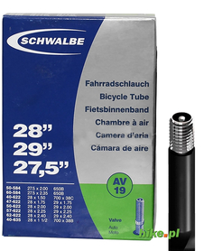 dętka rowerowa Schwalbe Standart 27,5 28 29 cali 40-62 mm wentyl samochodowy