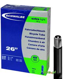dętka rowerowa Schwalbe Extra Light 26 cali 20-25mm wentyl samochodowy