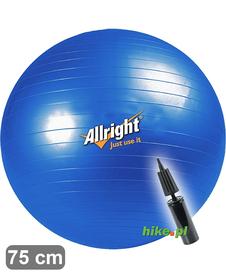 piłka gimnastyczna do ćwiczeń Allright z pompką niebieska 75 cm