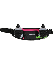 pas biodrowy do biegania Dobsom Waist Bag Bottles czarno-różowy