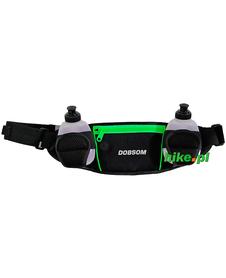 pas biodrowy do biegania Dobsom Waist Bag Bottles czarno-zielony