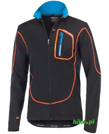 wiatroszczelna męska bluza rowerowa Berkner Jacob czarno-pomarańczowa