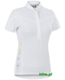 damska koszulka krótki rękaw Silvini Borgo biała-zielony motyw