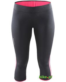 Craft Prime Capri - damskie legginsy 3/4 do biegania - czarno-różowe SS15
