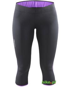 Craft Prime Capri - damskie legginsy 3/4 do biegania - czarno-fioletowe SS15