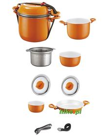 Brunner Mandarina 8+1 - garnki do gotowania - pomarańczowe