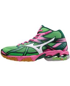 Mizuno Wave Bolt 4 MID - buty siatkarskie - zielono-różowe
