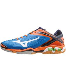 Mizuno Wave Stealth 3 - buty halowe - niebiesko-pomarańczowe