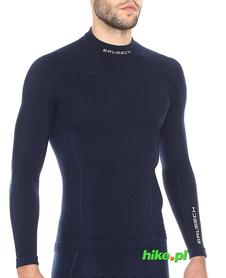 Brubeck Wool Merino wełniana męska koszulka termoaktywna granatowa