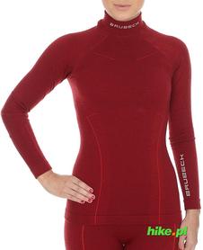 Brubeck Wool Merino wełniana damska koszulka termoaktywna czerwona