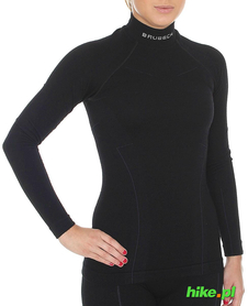 Brubeck Wool Merino wełniana damska koszulka termoaktywna czarna