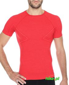 Brubeck Active Wool - koszulka męska z krótkim rękawem czerwona