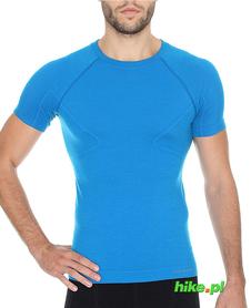 Brubeck Active Wool - koszulka męska z krótkim rękawem niebieska