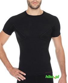Brubeck Active Wool - koszulka męska z krótkim rękawem czarna
