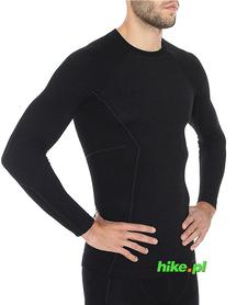 Brubeck Active Wool - koszulka męska z długim rękawem czarna