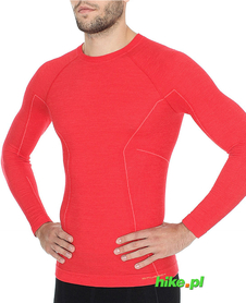 Brubeck Active Wool - koszulka męska z długim rękawem czerwona