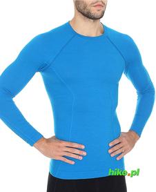 Brubeck Active Wool - koszulka męska z długim rękawem niebieska