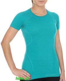 Brubeck Active Wool - koszulka damska z krótkim rękawem szmaragdowa