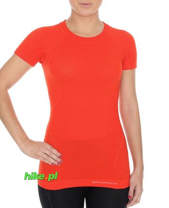 Brubeck Active Wool - koszulka damska z krótkim rękawem ceglasta
