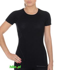 Brubeck Active Wool - koszulka damska z krótkim rękawem czarna