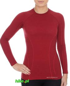 Brubeck Active Wool - koszulka damska z długim rękawem burgundowa