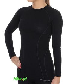 Brubeck Active Wool - koszulka damska z długim rękawem czarna