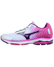 Mizuno Wave Rider 18 - damskie buty do biegania -  biało - różowe AW15